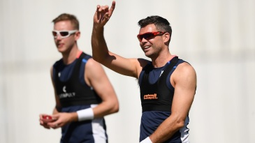 James Anderson and Stuart Broad at training
