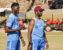 Alzarri Joseph trains with bowling coach Corey Collymore, Barbados, January 14, 2019