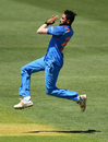 Mohammed Siraj loads up on top of his jump, Australia v India, 2nd ODI, Adelaide, January 15, 2018