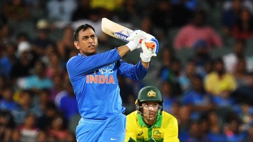 MS Dhoni launches one over long-on