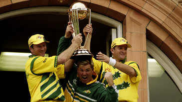 Steve Waugh, Shane Warne and Mark Waugh hold the 1999 World Cup trophy