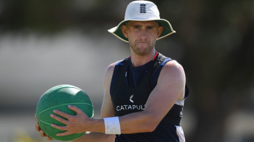 Olly Stone warms up for a training session in Barbados
