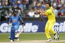 Virat Kohli watches Marcus Stoinis complete a return catch, Australia v India, 3rd ODI, Melbourne, January 18, 2019