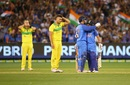 The faces say it all: Marcus Stoinis wears a dejected look as India's batsmen celebrate, Australia v India, 3rd ODI, Melbourne, January 18, 2019