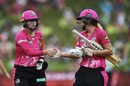 Ellyse Perry and Dane van Niekerk walk off the field after sharing an unbeaten stand, Sydney Sixers women v Melbourne Renegades women, WBBL semi-final, Sydney, January 19, 2019