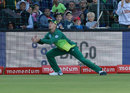 Dwaine Pretorius takes the catch of Fakhar Zaman at fine leg, South Africa v Pakistan, 1st ODI, Port Elizabeth