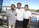 Virat Kohli and his wife Anushka Sharma strike a pose with Roger Federer at the Australian Open, Melbourne, January 19, 2019