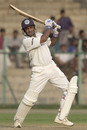 Jacob Martin drives the ball square, Board President's XI v England XI, Hyderabad, November 21, 2001
