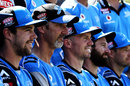 Coach Jason Gillespie sits with his Adelaide Strikers squad for a team photo ahead of the BBL final, Adelaide Strikers v Hobart Hurricanes, BBL 2017-18, final, Adelaide, February 4, 2018