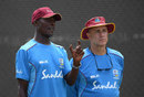 Vasbert Drakes and Richard Pybus at West Indies training, Barbados, January 19, 2019