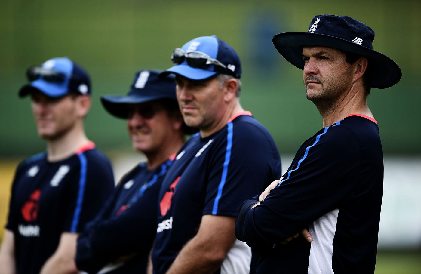 England analyst Nathan Leamon watches the team train