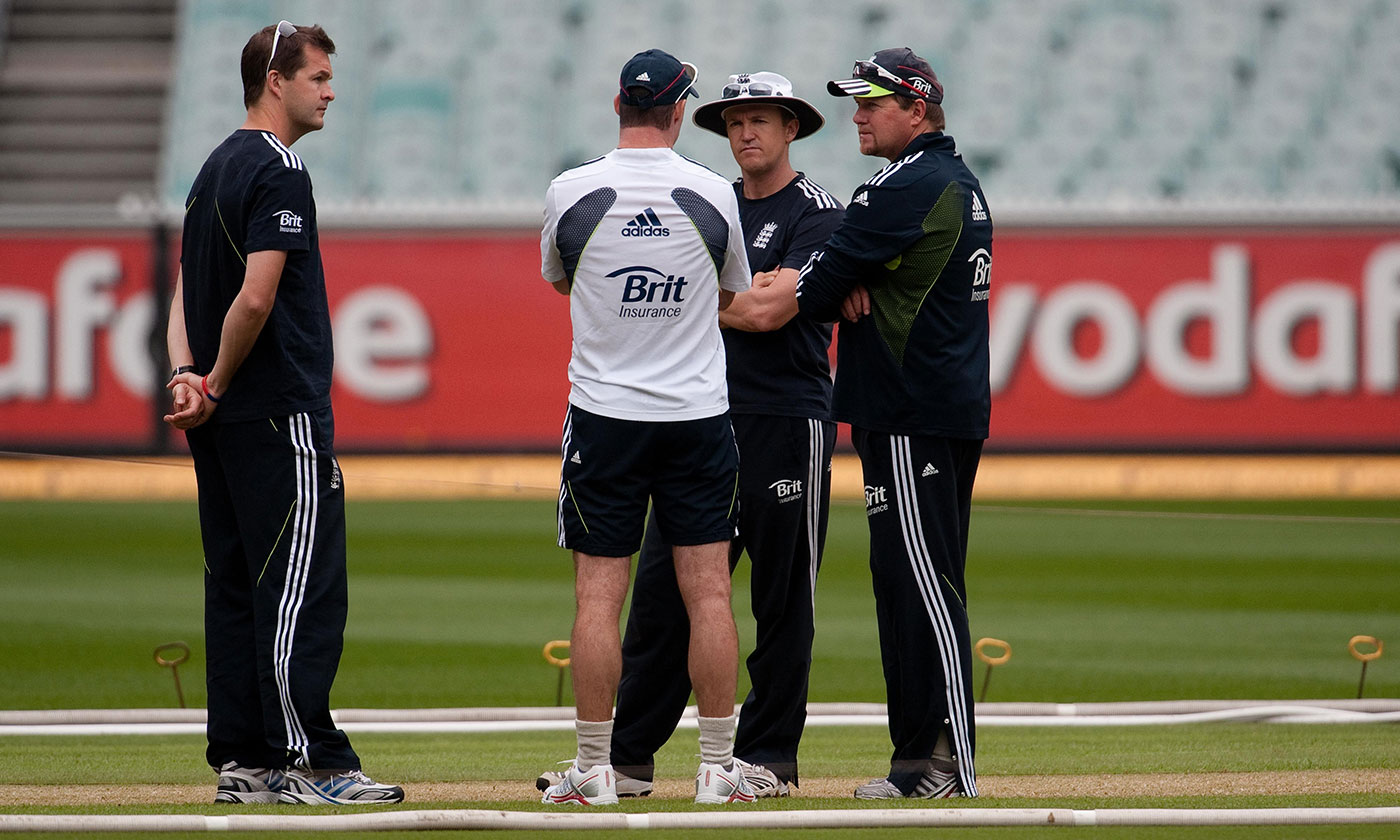 The brains trust: (from left) Leamon, Andrew Strauss, Andy Flower and bowling coach David Saker put their heads together in Melbourne during the 2010-11 Ashes