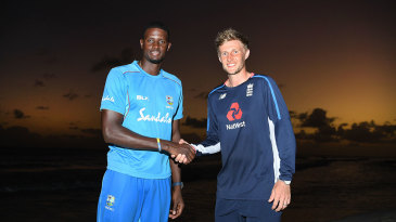 Jason Holder and Joe Root shake hands on the eve of the first Test
