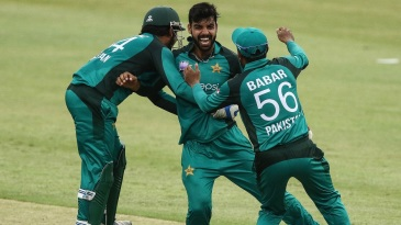 Shadab Khan is pumped after taking a wicket