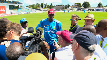 Jason Holder speaks to the media on the eve of the first Test