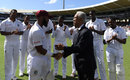 John Campbell receives his Test cap from Sir Garfield Sobers, West Indies v England, 1st Test, Barbados, 1st day, January 23,  2019