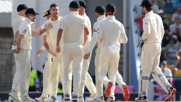 James Anderson celebrates his breakthrough in the evening session
