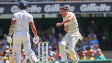 Jhye Richardson punches the air after picking up his first Test wicket