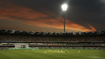 Floodlights take effect at the Gabba