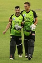 Callum Ferguson and Chris Green leave the field, Perth Scorchers v Sydney Thunder, Big Bash League, Perth, January 24, 2019