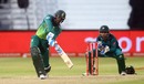 Andile Phehlukwayo hits out as Sarfraz Ahmed looks on, South Africa v Pakistan, 2nd ODI, Durban, January 22, 2019