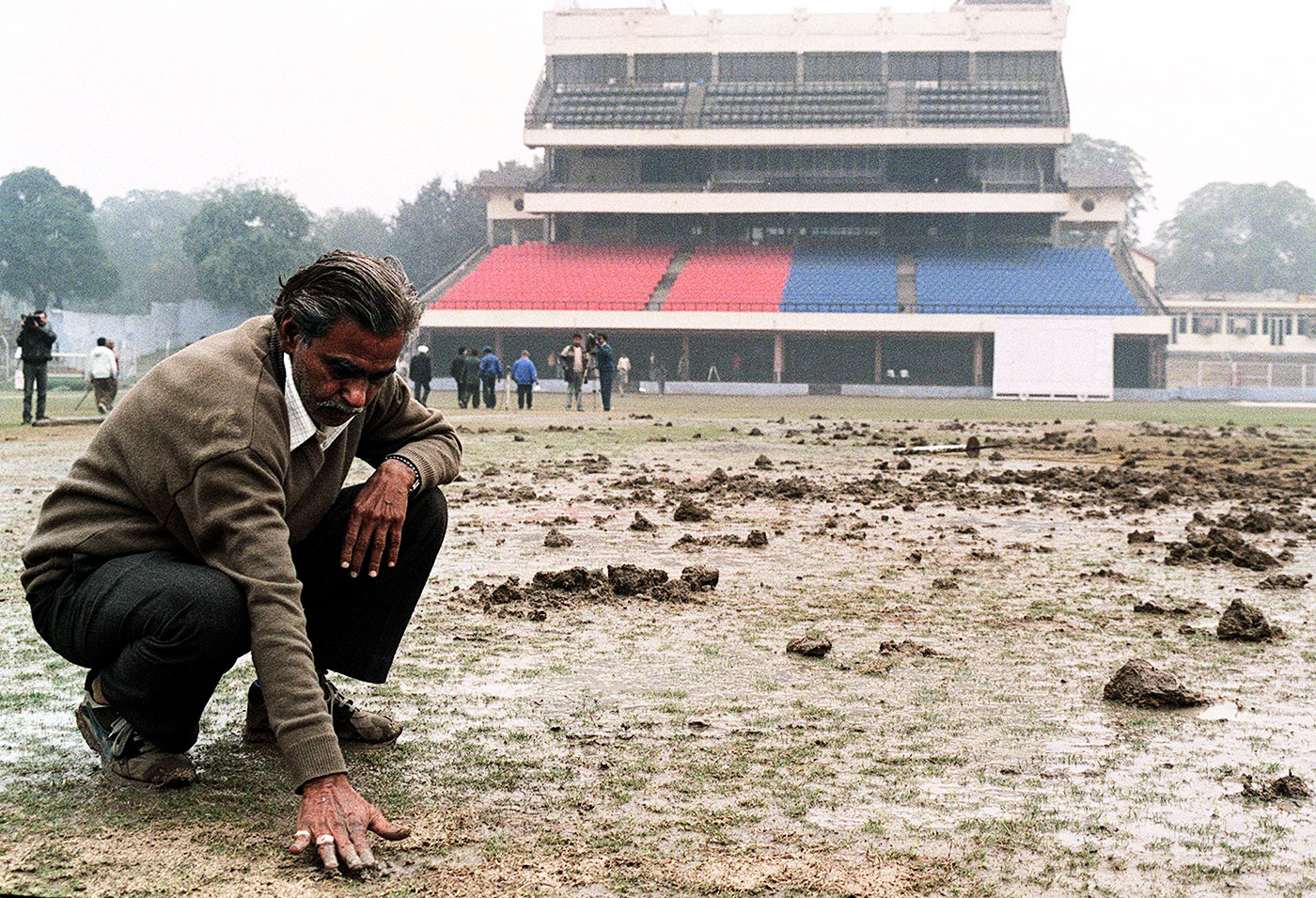 The Delhi pitch was dug up by vandals about a month before the Test there, which was scheduled to be the first match of the series
