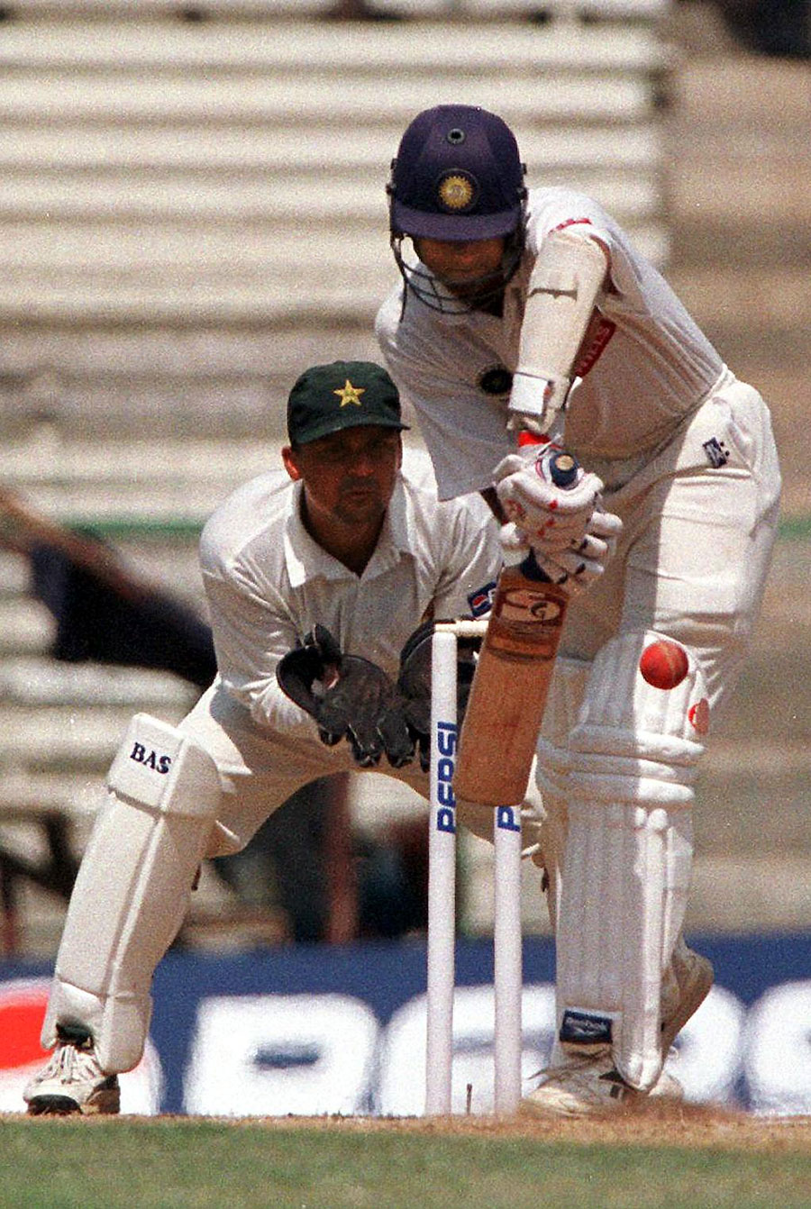 Rahul Dravid during his first-innings 53; in the second, a Wasim Akram special took care of him