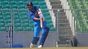 Ajinkya Rahane plays a lofted drive