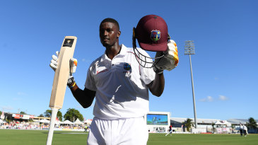 Jason Holder leaves the field after his epic double-hundred