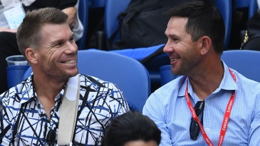 David Warner and Ricky Ponting at the Australian Open