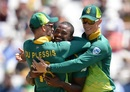 Andile Phehlukwayo is embraced by Faf du Plessis and Rassie van der Dussen, South Africa v Pakistan, 5th ODI, Cape Town, January 30, 2019