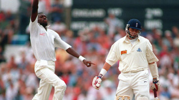 Alan Wells falls to Curtly Ambrose for a first-ball duck on Test debut
