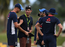 Alastair Cook says hello to former team-mates in his role as a radio commentator, England in West Indies, Antigua, January 29, 2019