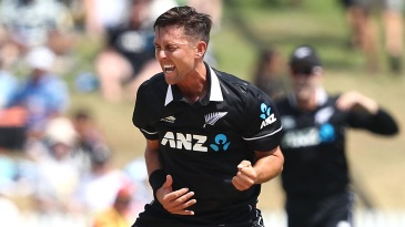 Trent Boult exults after picking up a wicket