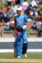 Shubman Gill reacts after being hit on the helmet, New Zealand v India, 4th ODI, Hamilton, January 31, 2019