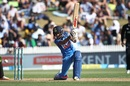 Yuzvendra Chahal plays a drive, New Zealand v India, 4th ODI, Hamilton, January 31, 2019