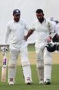 Sheldon Jackson and Cheteshwar Pujara walk off after another good day's work, Karnataka v Saurashtra, 2nd semi-final, Ranji Trophy 2018-19, 4th day, January 27, 2019