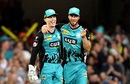 Jimmy Pierson and Chris Lynn share a light moment, Brisbane Heat v Perth Scorchers, BBL 2018-19, February 1, 2019