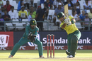 Reeza Hendricks goes for a big drive, South Africa v Pakistan, 1st T20I, Cape Town, February 1, 2019