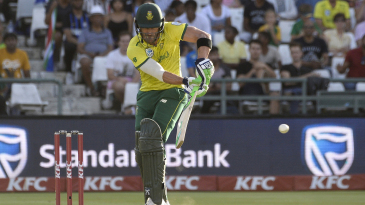 Faf du Plessis tucks the ball into the leg side