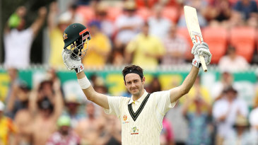 Kurtis Patterson soaks up the moment of his first Test century