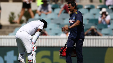Kusal Perera was forced to retire hurt after being hit on the helmet