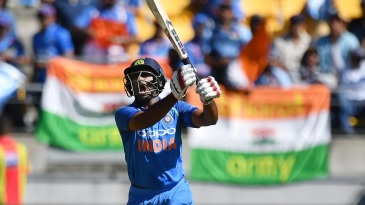 Ambati Rayudu launches it down the ground