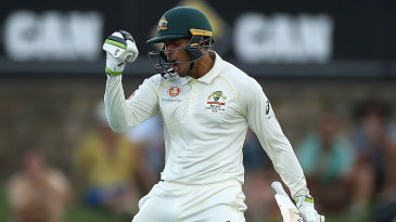 Usman Khawaja's emotions came out when he reached three figures