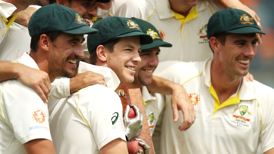 Captain Tim Paine is all smiles