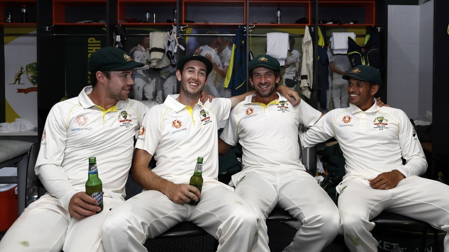 The four Australian century-makers from the Canberra Test