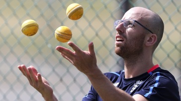 Jack Leach juggles during a training session