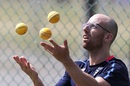 Jack Leach juggles during a training session, England v West Indies, Sir Vivian Richards Stadium, St John's, Antigua, February 4, 2019.