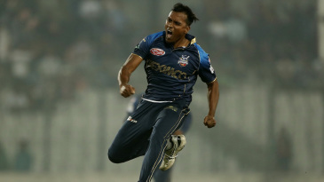 Rubel Hossain is thrilled after taking a wicket