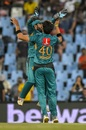 Shaheen Shah Afridi celebrates a wicket with Mohammad Rizwan, South Africa v Pakistan, 3rd T20I, Centurion, February 6, 2019